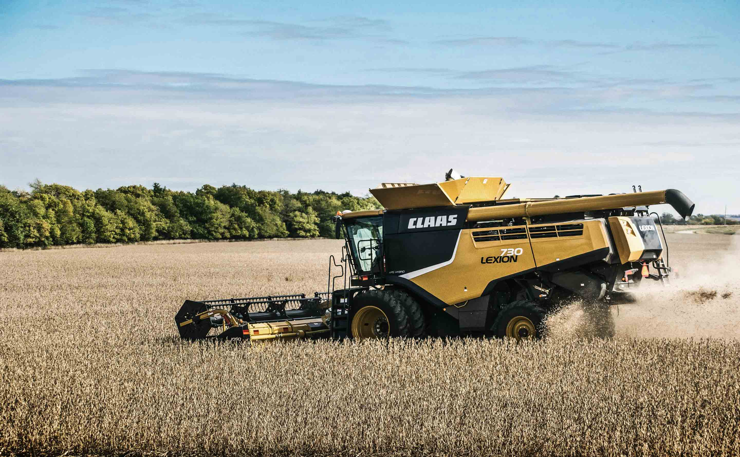 Claas Combine harvesting wheat