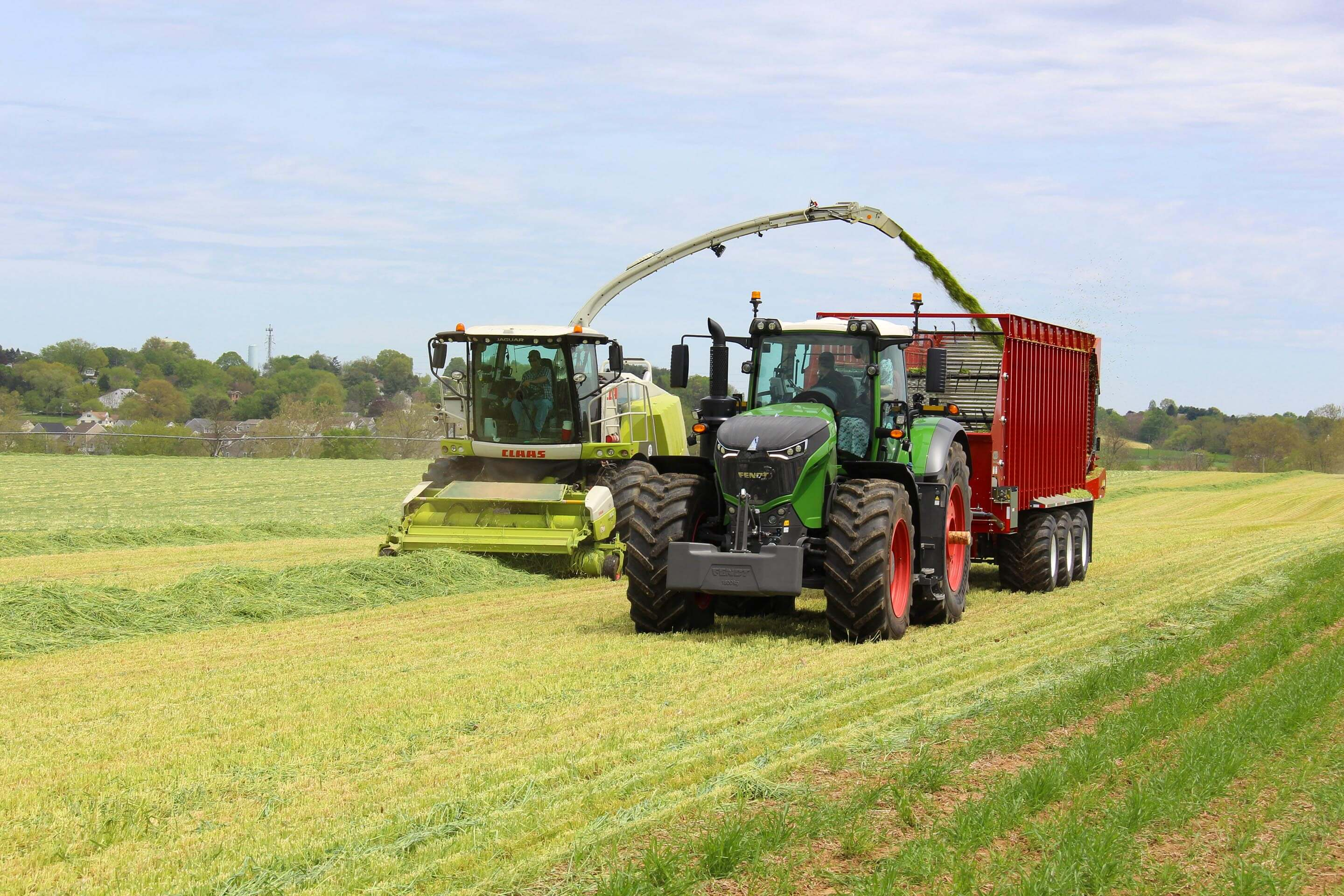 Claas harvester in a field.