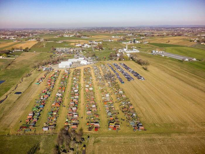 Aerial image of MM Weaver's annual equipment auction.