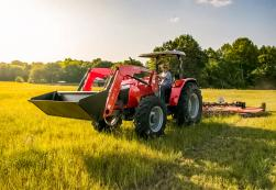 Massey Ferguson 4700 Series with front end loader and pull behind mower.