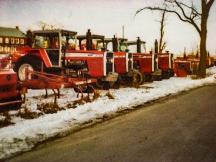 Line up of old Massey Ferguson tractors at MM Weaver.